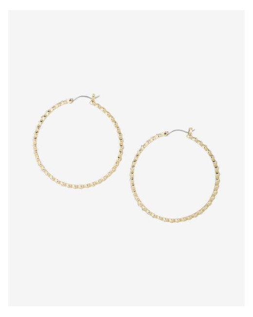Express | Metallic Stone Front Hoop Earrings | Lyst