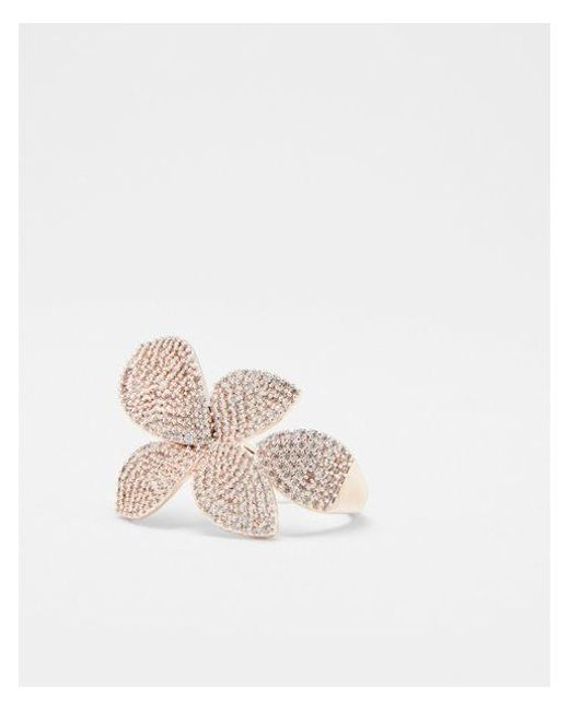 Express - Metallic Cubic Zirconia Flower Cocktail Ring - Lyst