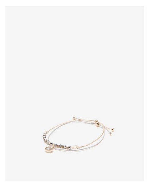 Express - Gray Faceted Metal Pull-cord Bracelet - Lyst