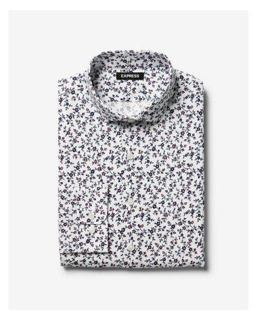 6b393ff025d7 Express - Blue Ig   Tall Extra Slim Floral Print Dress Shirt for Men - Lyst