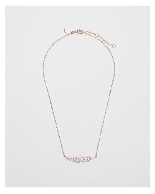 Express - Metallic Cubic Zirconia Horizontal Leaf Necklace - Lyst