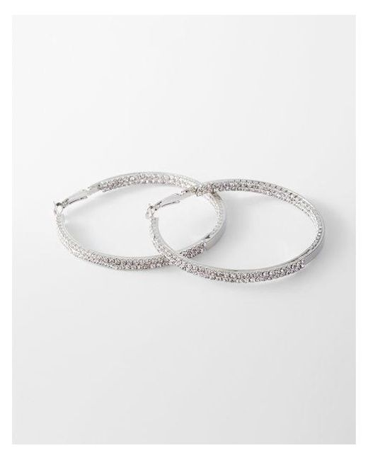 Express | Metallic Double Rhinestone Hoop Earrings | Lyst