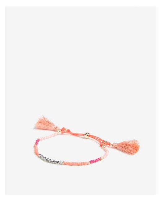Express - Orange Faceted Tassel Pull Cord Bracelet - Lyst