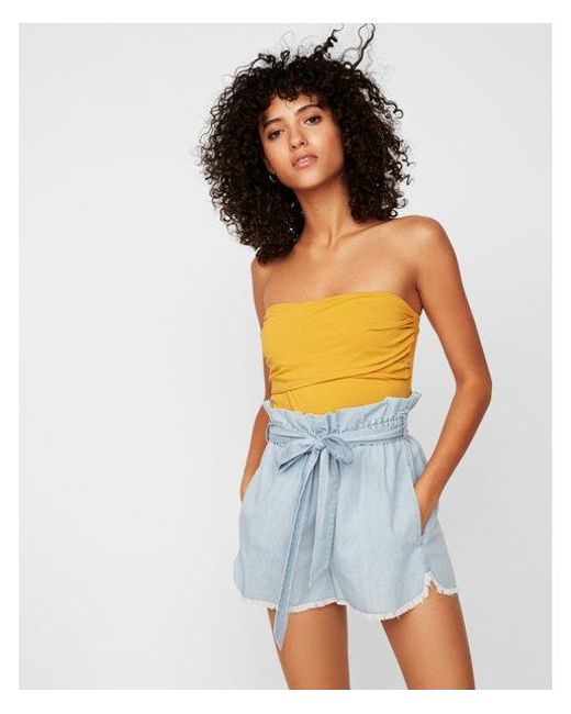 Express - Blue High Waisted Denim Paperbag Shorts - Lyst