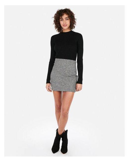 928c14cab Lyst - Express High Waisted Chevron Knit Mini Skirt in Black