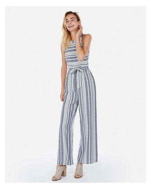 3f25cac0c55 Lyst - Express Striped Halter Jumpsuit in Blue