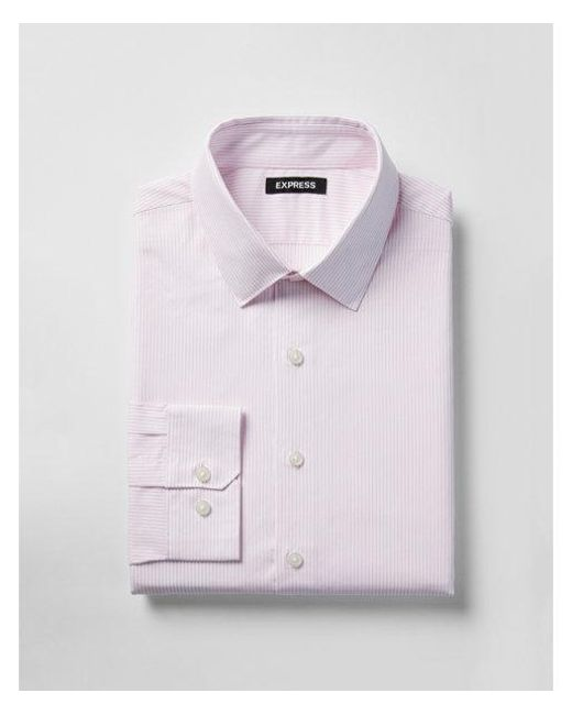 Express - Pink Classic Fit Striped Cotton Dress Shirt for Men - Lyst