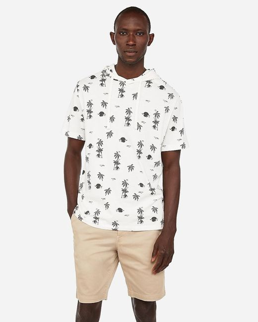 Express Multicolor Sunset Print Short Sleeve Hoodie Neutral for men