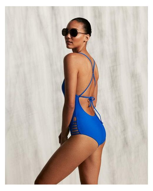 f3073dc574 Lyst - Express Strappy One-piece Swimsuit in Blue