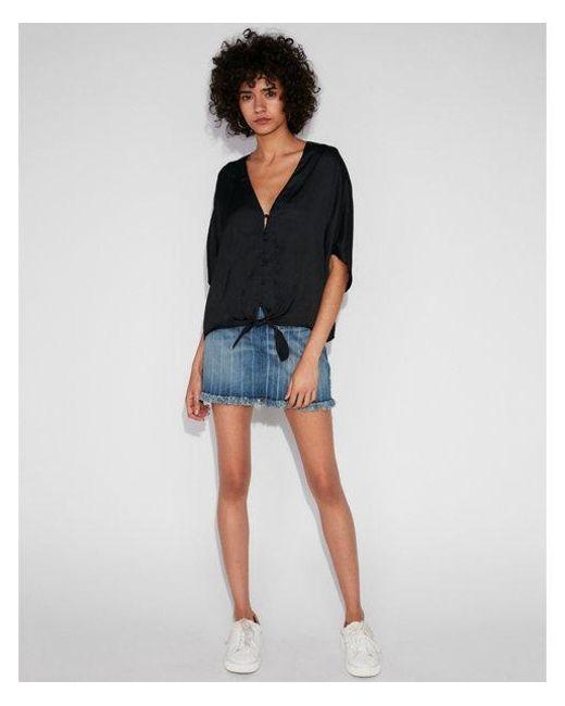 Express - Black Satin Short Sleeve Tie Front Shirt - Lyst