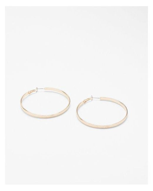 Express - Metallic Thick Polished Hoop Earrings - Lyst