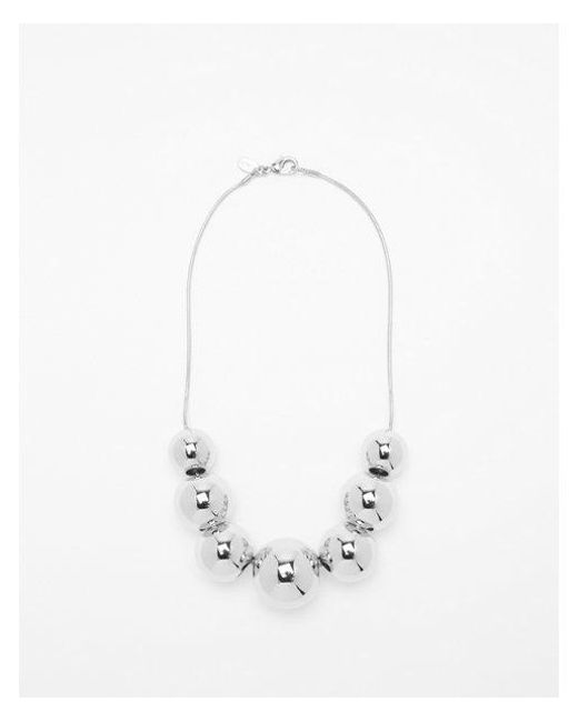 Express - Metallic Graduated Ball Statement Necklace - Lyst