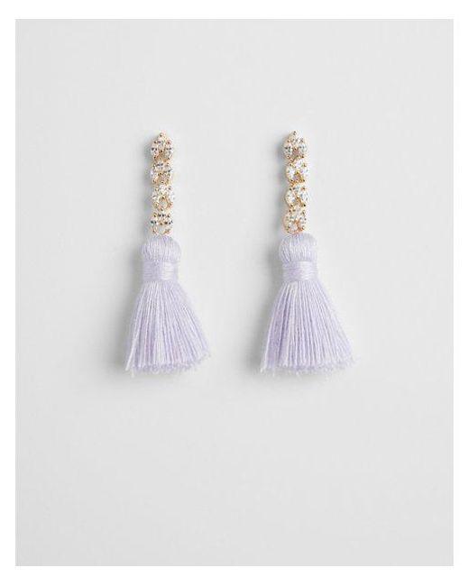 Express - Purple Linear Tassel Earrings - Lyst