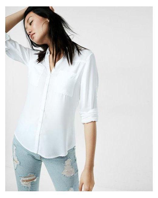 1ab7de4ac072 Lyst - Express Slim Fit Convertible Sleeve Portofino Shirt in White