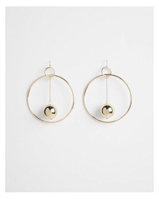 Express - Metallic Linear Ball Hoop Drop Earrings - Lyst