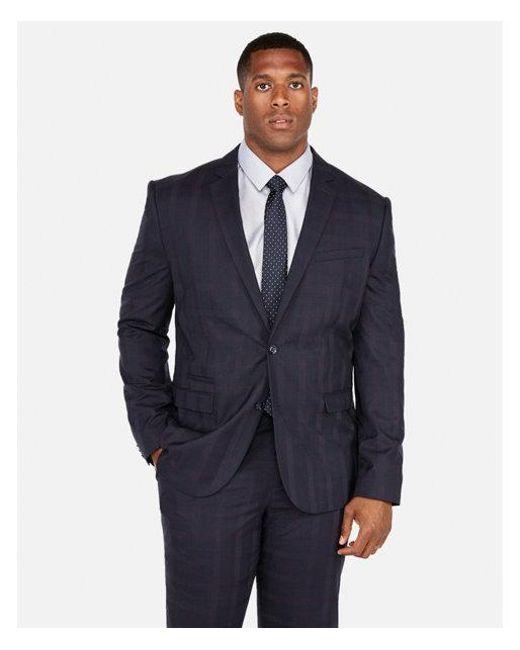 Men's Blue Slim Navy Plaid Luxury 100% Wool Suit Jacket
