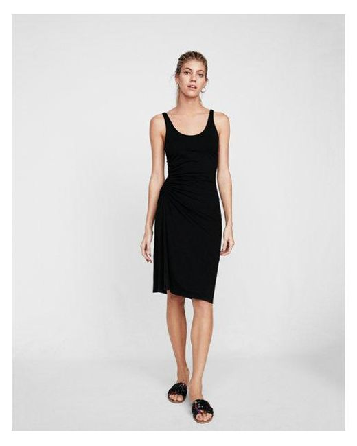 Express - Black Ruched Side Tank Midi Dress - Lyst