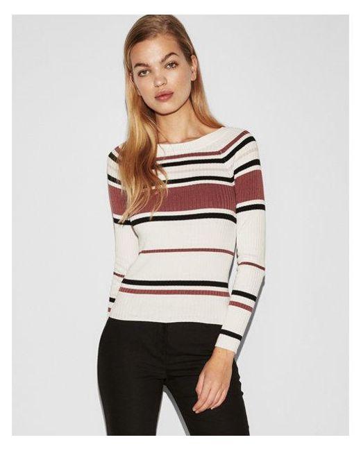 Express - White Striped Ribbed Bateau Neck Sweater - Lyst
