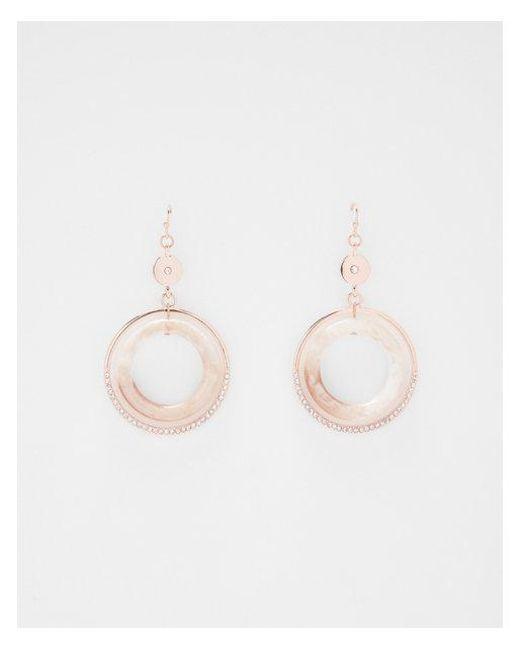 Express - Metallic Floating Circle Drop Earrings - Lyst