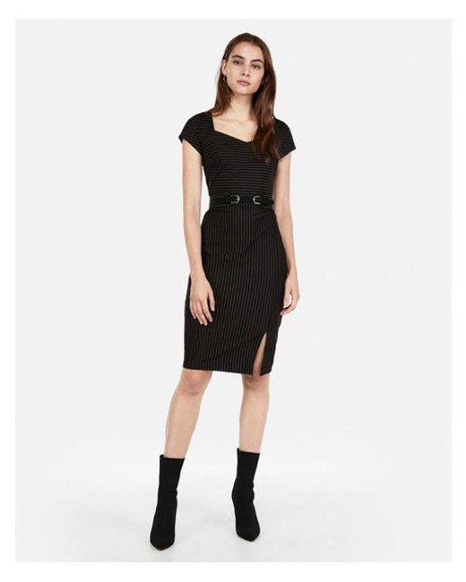 c9262f11394 Lyst - Express Stripe Sweetheart Neck Dress in Black