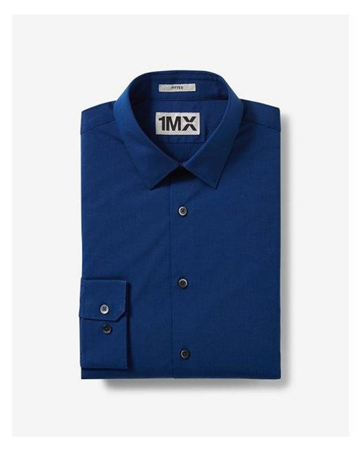Express - Blue Fitted Textured 1mx Shirt for Men - Lyst