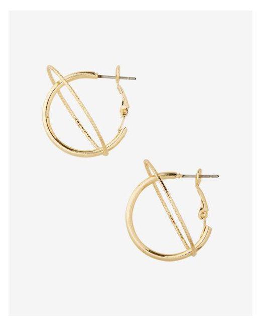 Express - Metallic Orbit Hoop Earrings - Lyst