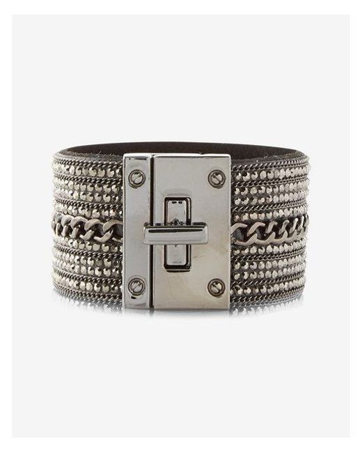 Express | Gray Rhinestone Chain Turnlock Cuff Bracelet | Lyst