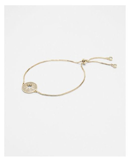 Express - Metallic Cubic Zirconia Star Pull-cord Bracelet - Lyst