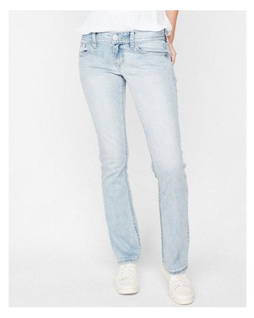 Express - Blue Low Rise Thick Stitch Stretch Barely Boot Jeans, Women's Size:0 Long - Lyst
