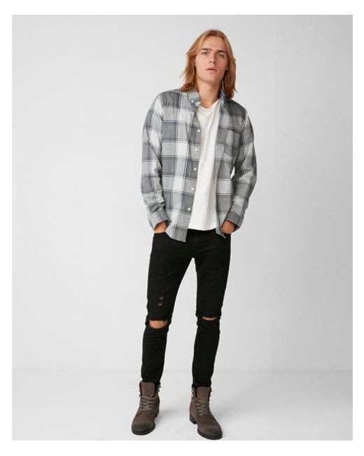 Express - Gray Soft Wash Heathered Plaid Shirt for Men - Lyst