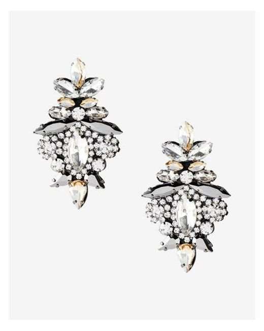 Express | Metallic Ornate Stone Earrings | Lyst