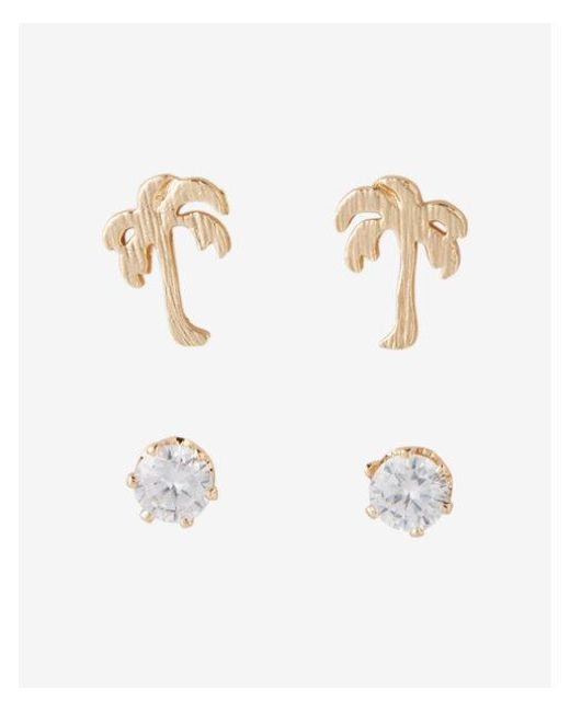 Express - Metallic Set Of Two Palm Tree And Stone Stud Earrings - Lyst