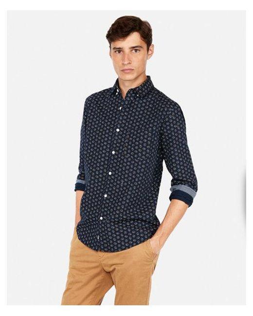 Express - Blue Classic Leaf Print Soft Wash Shirt for Men - Lyst