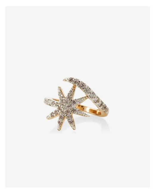 Express - Metallic Pave Star And Moon Ring - Lyst