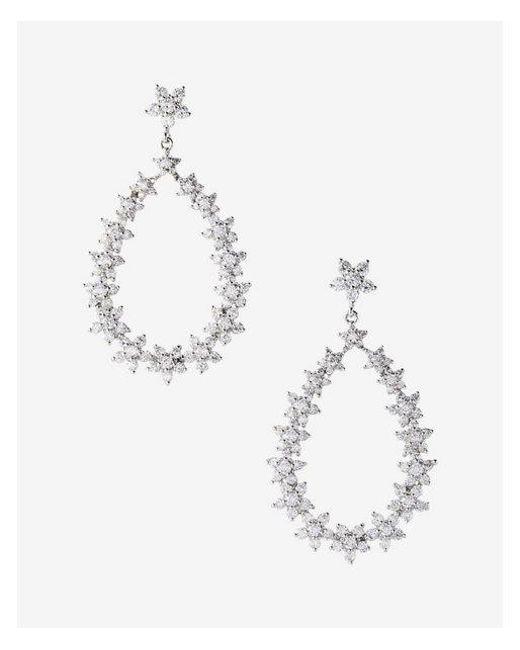 Express | Metallic Cubic Zirconia Oval Drop Earrings | Lyst