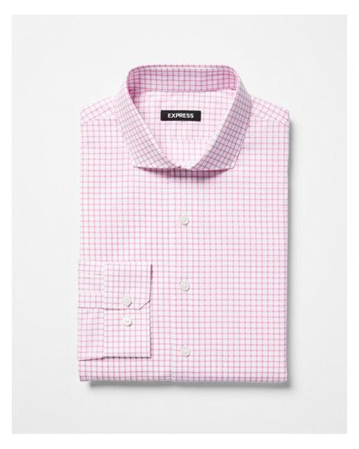 Express - Pink Slim Check Pattern Spread Collar Dress Shirt for Men - Lyst