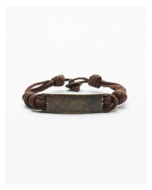 Express - Brown Metal Plaque Leather Bracelet for Men - Lyst