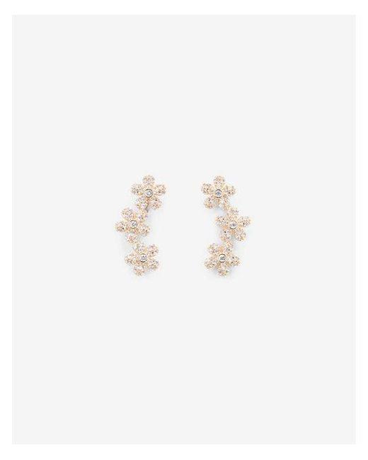 Express - Metallic Cubic Zirconia Flower Crawler Earrings - Lyst