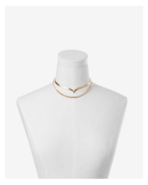 Express - Metallic Double Row Chevron Choker Necklace - Lyst