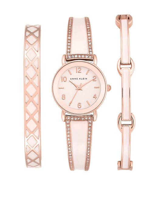 Anne klein bangle watch set in pink rose gold lyst for Anne klein rose gold watch set