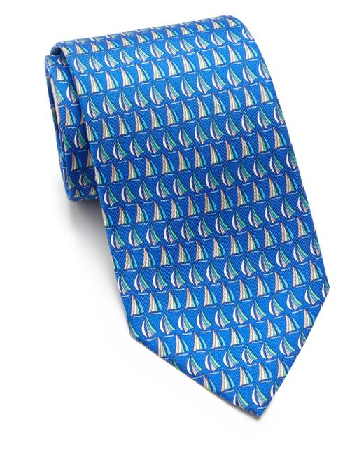 Ferragamo   Blue Beach Print Silk Tie for Men   Lyst