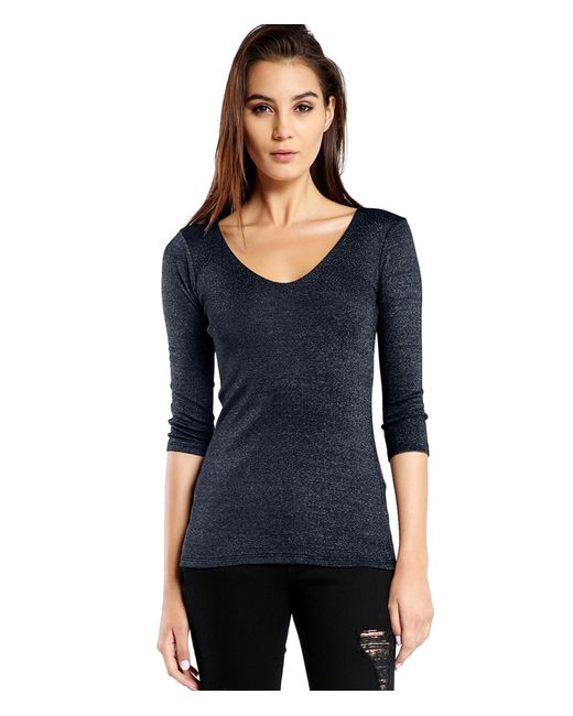 Michael Stars | Blue Shine 3/4 Sleeve Doubled Front V-neck | Lyst
