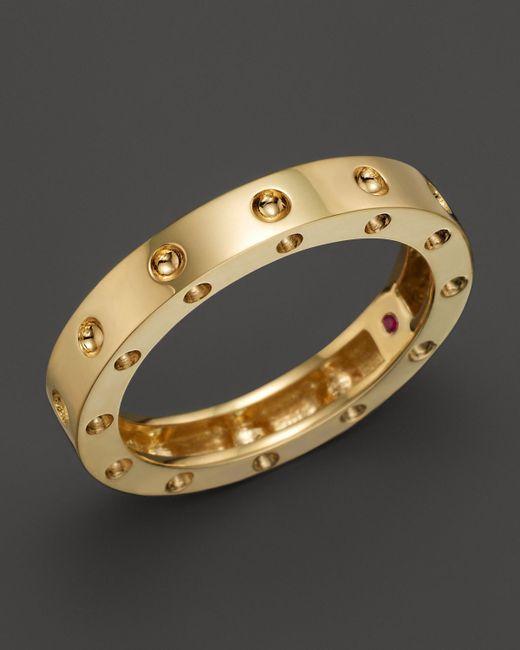 Roberto Coin | 18k Yellow Gold Pois Moi Round Single Row Ring | Lyst
