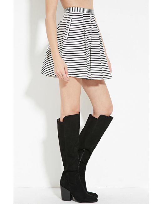 forever 21 pleated stripe skirt in black lyst