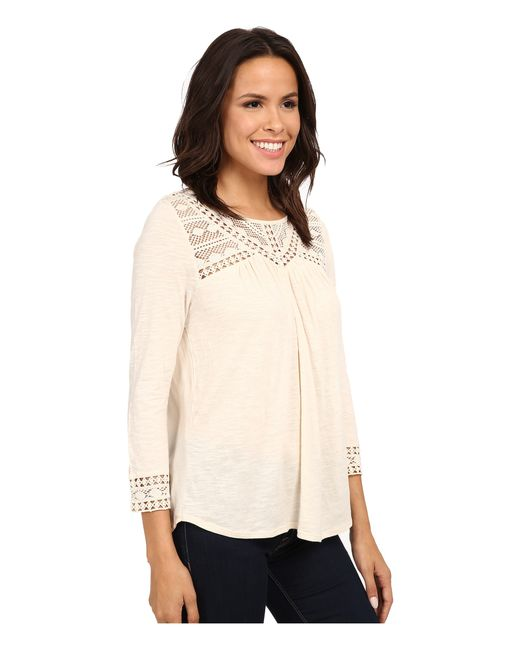 Lucky Brand | Natural Chevron Lace Top | Lyst