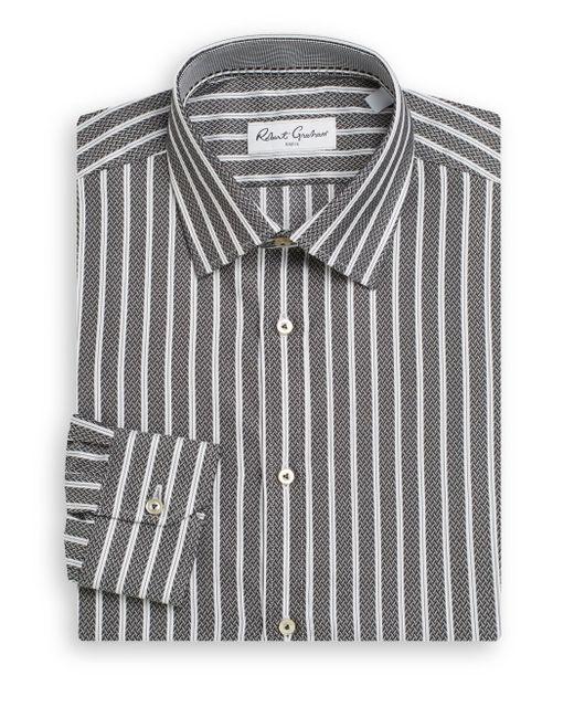 Robert graham bricket herringbone stripe cotton dress for White herringbone dress shirt