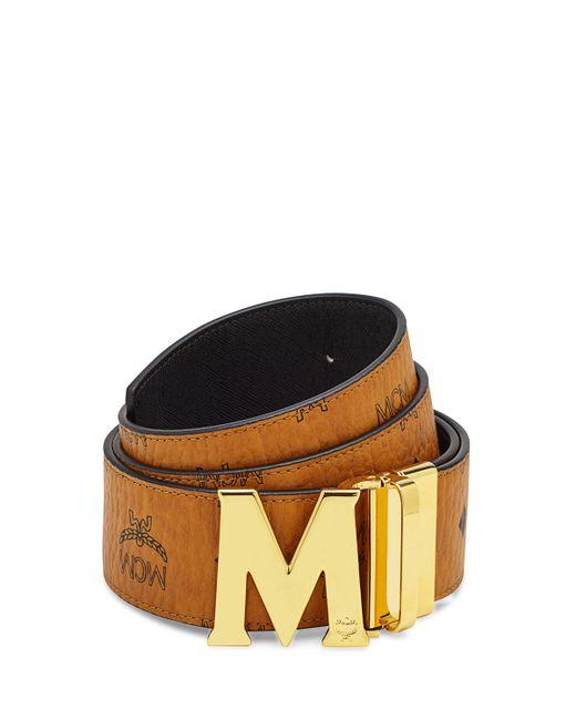 mcm visetos reversible leather belt in brown cognac black