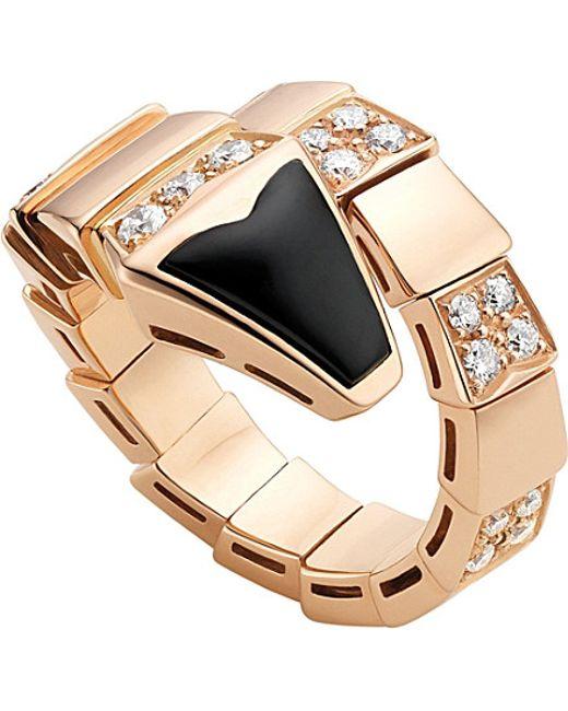 BVLGARI | Metallic Serpenti 18ct Pink-gold And Black-onyx Ring | Lyst
