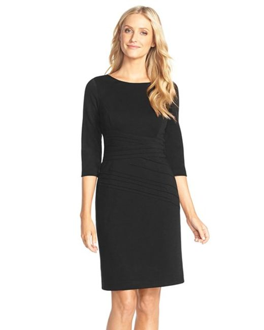 Ellen Tracy | Black Seamed Ponte Sheath Dress | Lyst