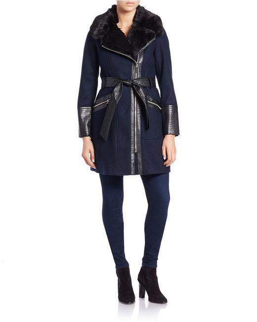 Via Spiga | Blue Leathertte And Faux Fur-trimmed Coat | Lyst